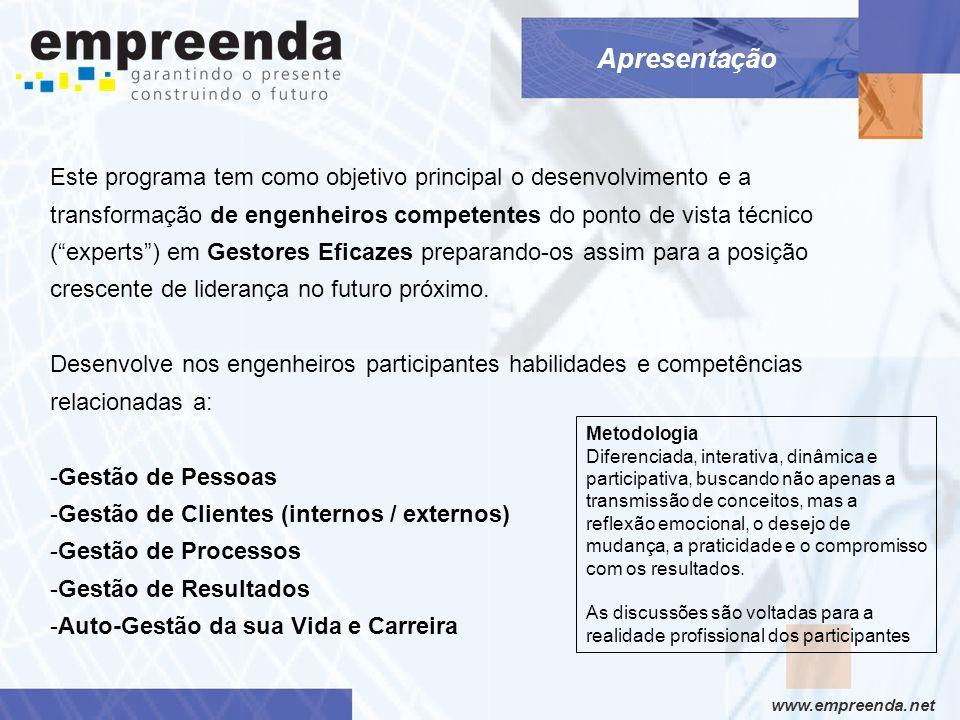 www.empreenda.net Módulo V (08 horas) Alguns tópicos abordados O Papel do Líder Contruindo a Causa com a Equipe Pessoas / Clientes / Processos / Resultados Equilibrio Vida Pessoal / Profissional Auto Desenvolvimento Contínuo Atitudes e Posturas Gestão de Tempo x Prioridades Finanças Pessoais Vendendo o Peixe – VOCÊ S.A.