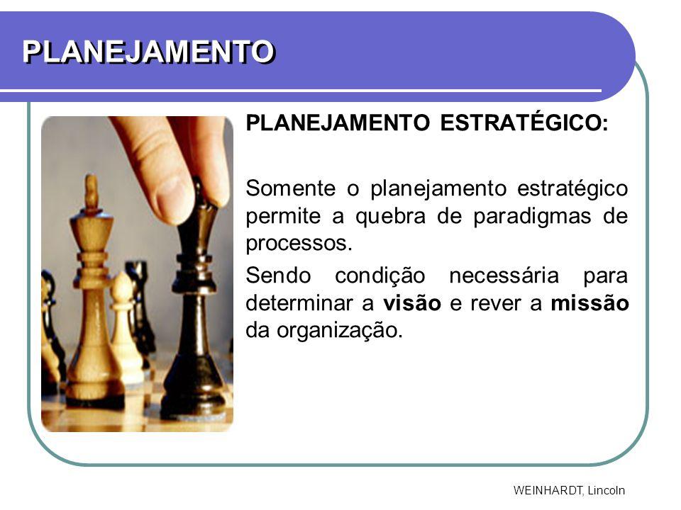 PLANEJAMENTO PLANEJAMENTO ESTRATÉGICO: Somente o planejamento estratégico permite a quebra de paradigmas de processos. Sendo condição necessária para