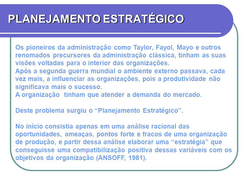 PLANEJAMENTO ESTRATÉGICO Os pioneiros da administração como Taylor, Fayol, Mayo e outros renomados precursores da administração clássica, tinham as su