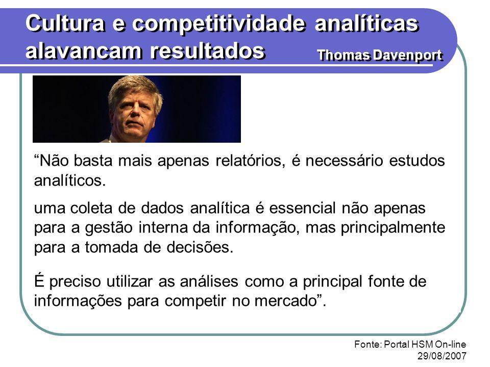 Cultura e competitividade analíticas alavancam resultados Thomas Davenport Não basta mais apenas relatórios, é necessário estudos analíticos. uma cole