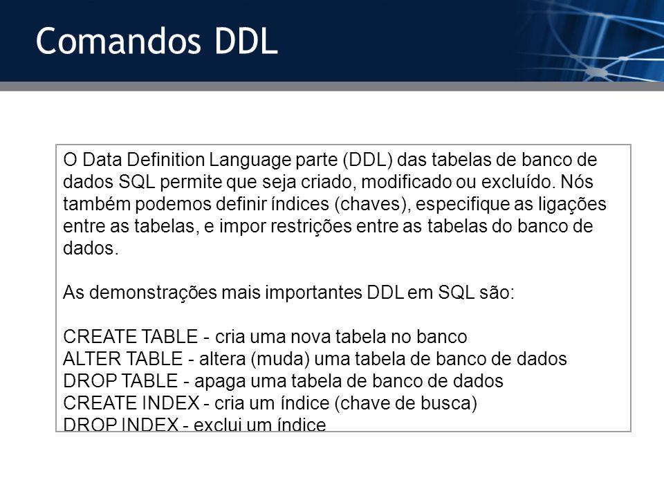 O Data Definition Language parte (DDL) das tabelas de banco de dados SQL permite que seja criado, modificado ou excluído. Nós também podemos definir í