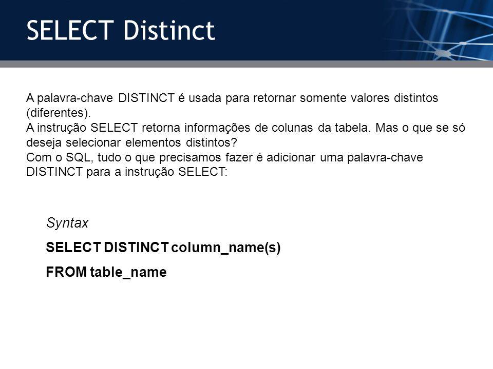 A palavra-chave DISTINCT é usada para retornar somente valores distintos (diferentes). A instrução SELECT retorna informações de colunas da tabela. Ma