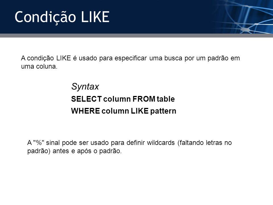A condição LIKE é usado para especificar uma busca por um padrão em uma coluna. Syntax SELECT column FROM table WHERE column LIKE pattern A