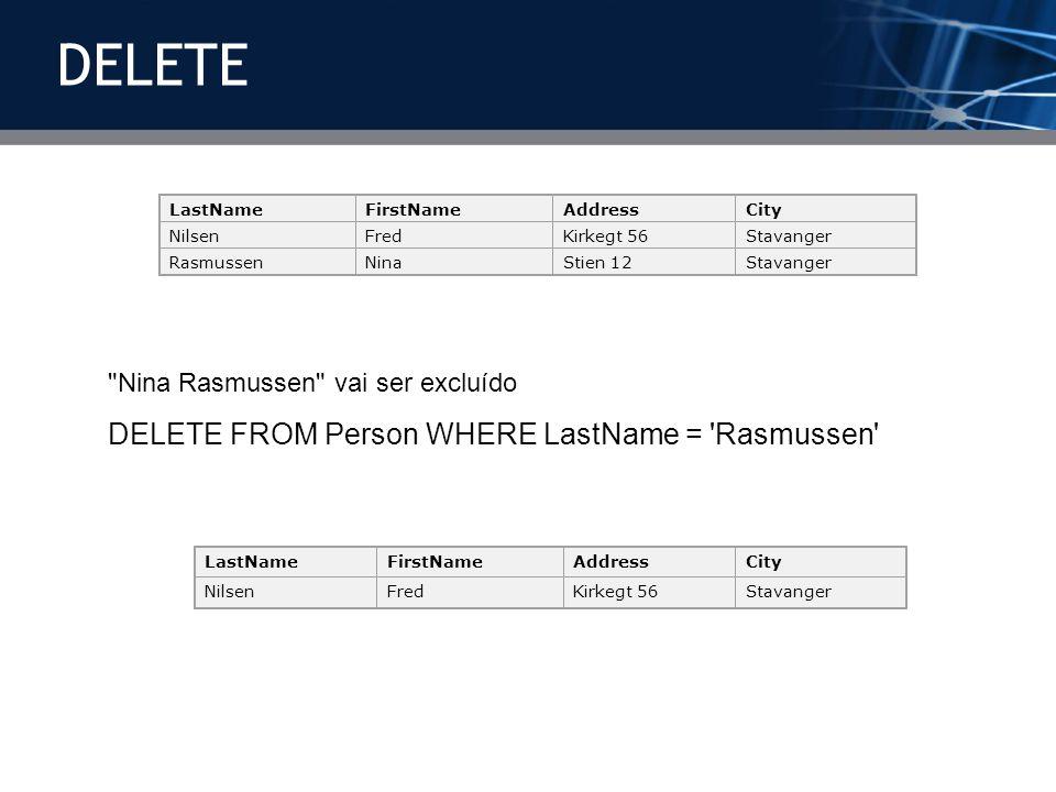 LastNameFirstNameAddressCity NilsenFredKirkegt 56Stavanger RasmussenNinaStien 12Stavanger