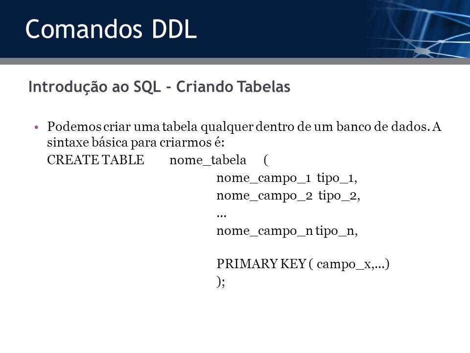 Introdução ao SQL - Criando Tabelas Podemos criar uma tabela qualquer dentro de um banco de dados. A sintaxe básica para criarmos é: CREATE TABLE nome
