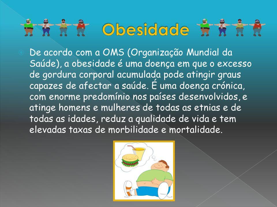 De acordo com a OMS (Organização Mundial da Saúde), a obesidade é uma doença em que o excesso de gordura corporal acumulada pode atingir graus capazes