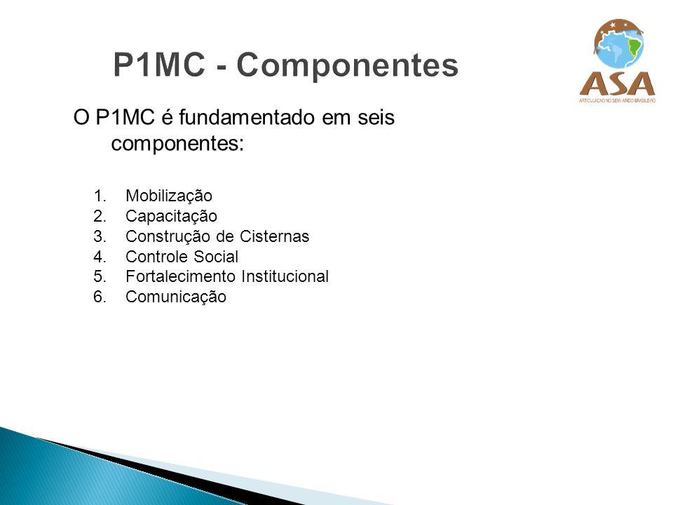 O P1MC é fundamentado em seis componentes: 1.Mobilização 2.Capacitação 3.Construção de Cisternas 4.Controle Social 5.Fortalecimento Institucional 6.Co