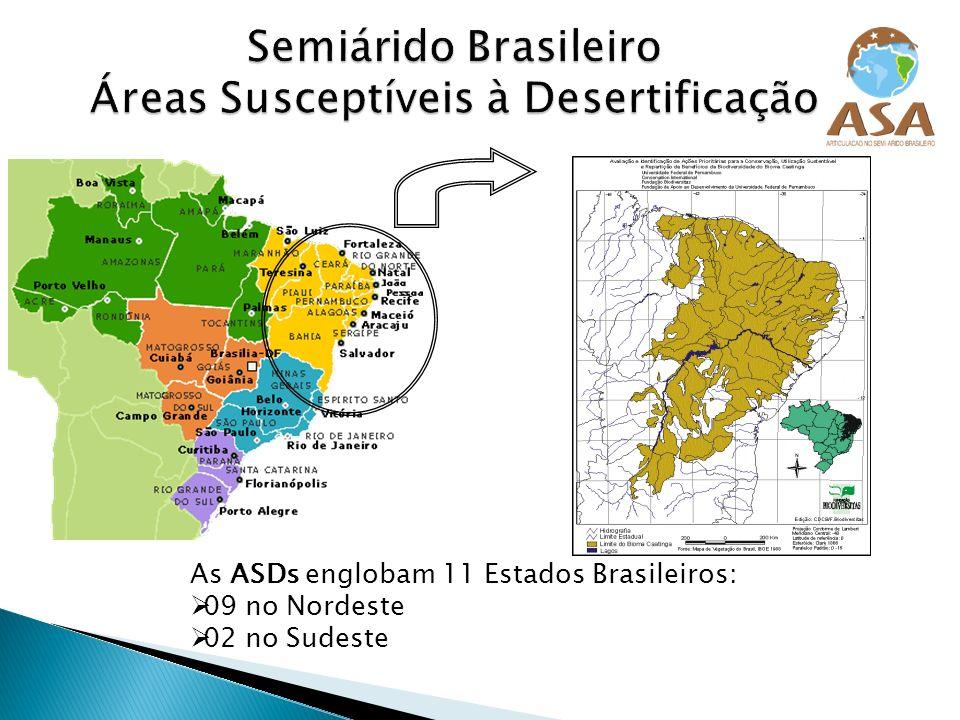 As ASDs englobam 11 Estados Brasileiros: 09 no Nordeste 02 no Sudeste
