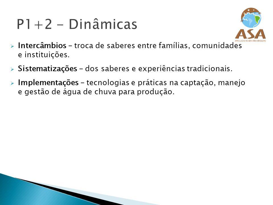Intercâmbios – troca de saberes entre famílias, comunidades e instituições. Sistematizações – dos saberes e experiências tradicionais. Implementações