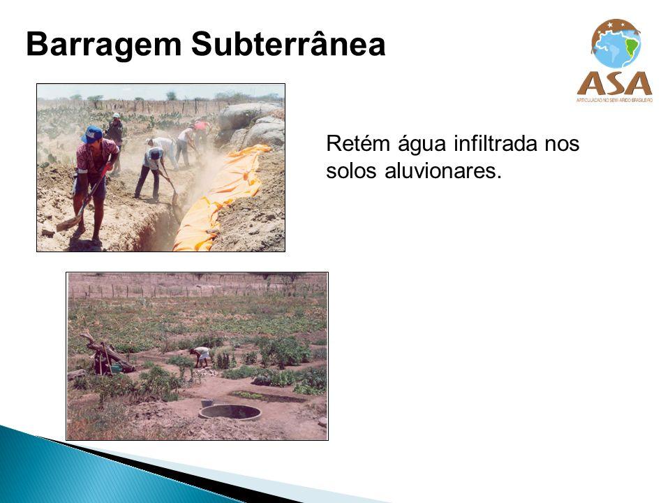 Retém água infiltrada nos solos aluvionares. Barragem Subterrânea