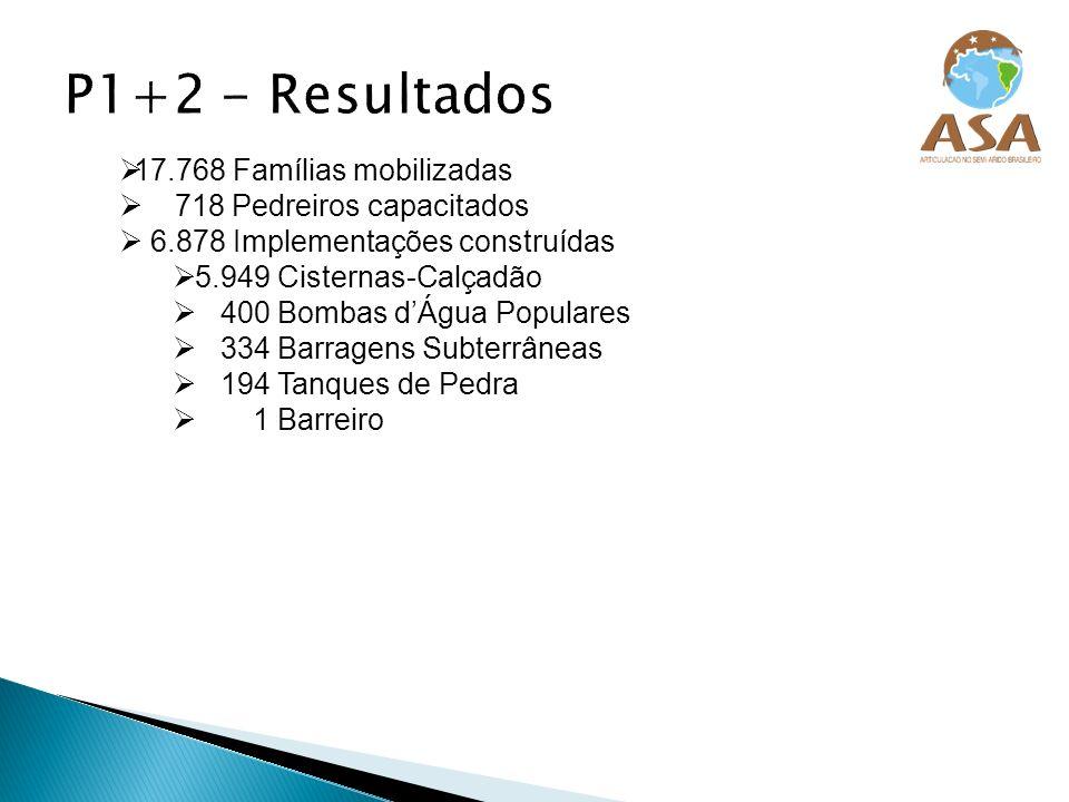 17.768 Famílias mobilizadas 718 Pedreiros capacitados 6.878 Implementações construídas 5.949 Cisternas-Calçadão 400 Bombas dÁgua Populares 334 Barrage