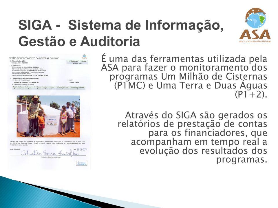 É uma das ferramentas utilizada pela ASA para fazer o monitoramento dos programas Um Milhão de Cisternas (P1MC) e Uma Terra e Duas Águas (P1+2). Atrav