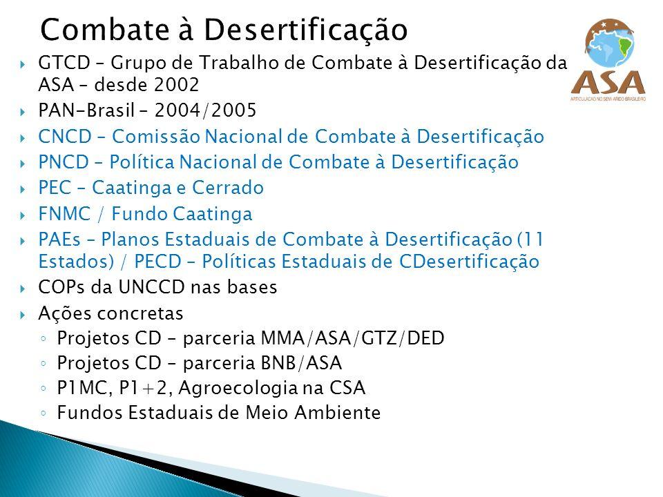 GTCD – Grupo de Trabalho de Combate à Desertificação da ASA – desde 2002 PAN-Brasil – 2004/2005 CNCD – Comissão Nacional de Combate à Desertificação P