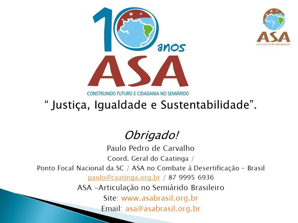 Justiça, Igualdade e Sustentabilidade. Obrigado! Paulo Pedro de Carvalho Coord. Geral do Caatinga / Ponto Focal Nacional da SC / ASA no Combate à Dese