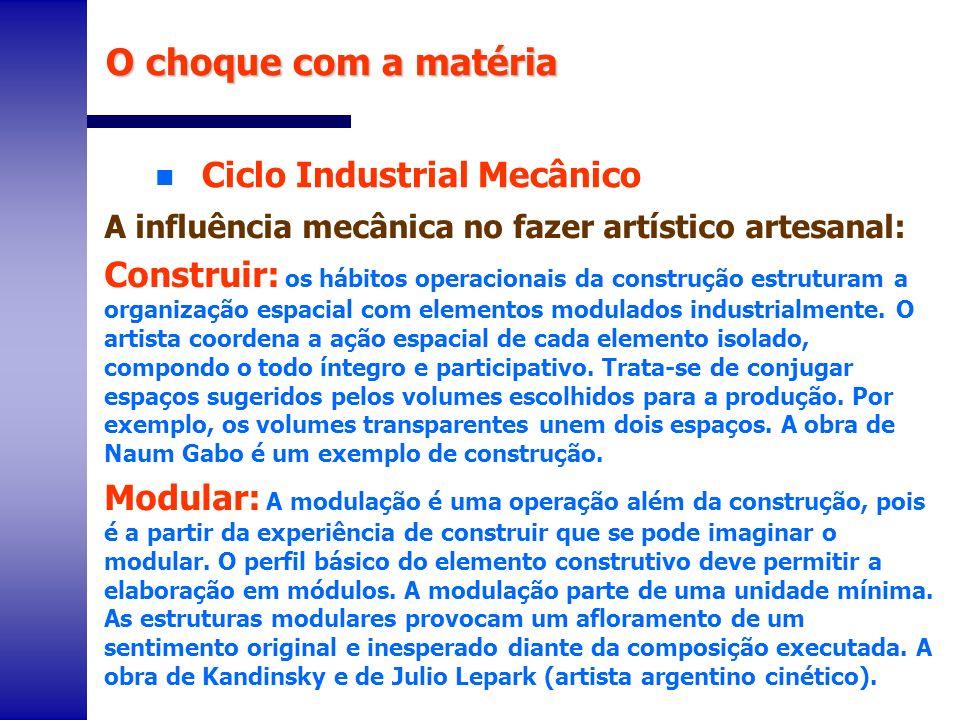 n Ciclo Industrial Mecânico O choque com a matéria A influência mecânica no fazer artístico artesanal: Construir: os hábitos operacionais da construçã