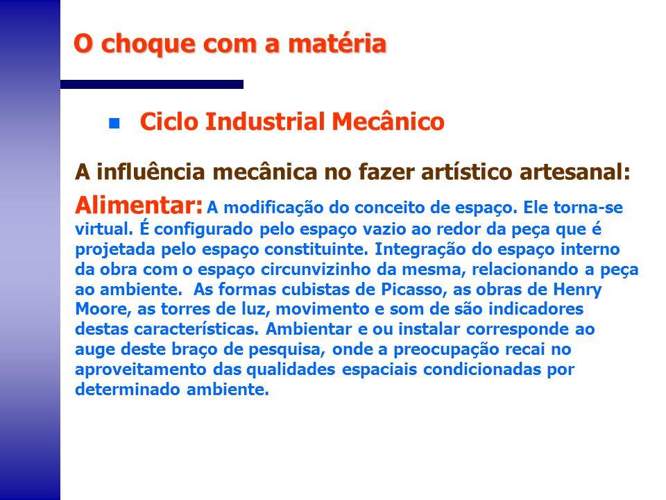 n Ciclo Industrial Mecânico O choque com a matéria A influência mecânica no fazer artístico artesanal: Alimentar: A modificação do conceito de espaço.