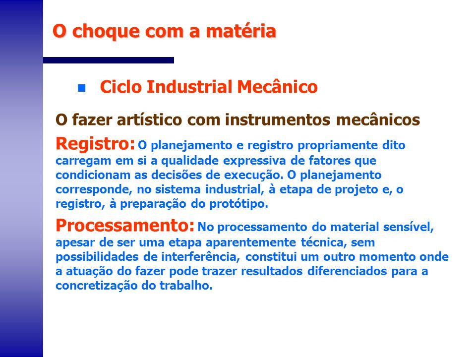 n Ciclo Industrial Mecânico O choque com a matéria O fazer artístico com instrumentos mecânicos Registro: O planejamento e registro propriamente dito
