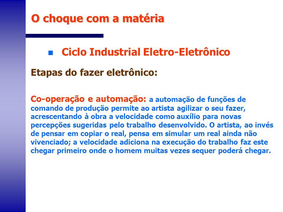 n Ciclo Industrial Eletro-Eletrônico O choque com a matéria Etapas do fazer eletrônico: Co-operação e automação: a automação de funções de comando de