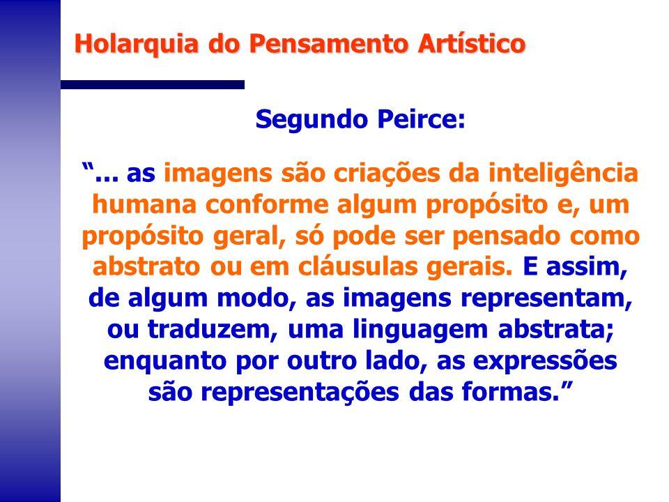 Segundo Peirce:... as imagens são criações da inteligência humana conforme algum propósito e, um propósito geral, só pode ser pensado como abstrato ou