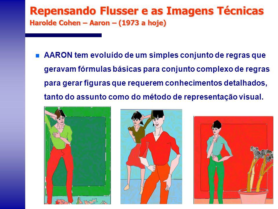 Repensando Flusser e as Imagens Técnicas Harolde Cohen – Aaron – (1973 a hoje) n AARON tem evoluído de um simples conjunto de regras que geravam fórmu