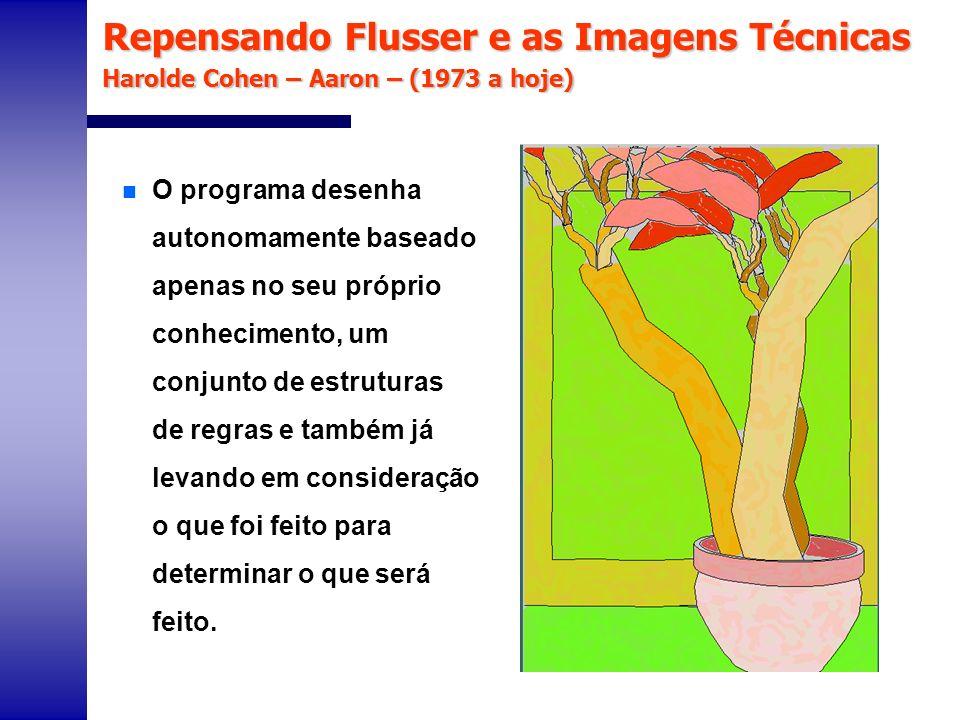 Repensando Flusser e as Imagens Técnicas Harolde Cohen – Aaron – (1973 a hoje) n O programa desenha autonomamente baseado apenas no seu próprio conhec
