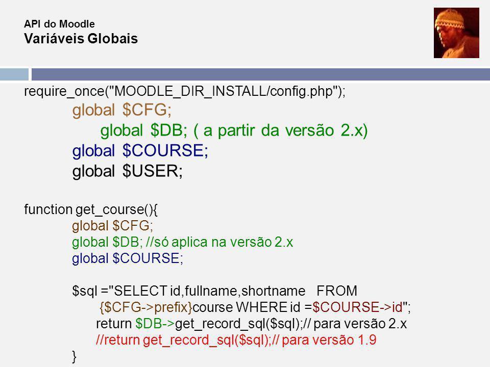 API do Moodle Variáveis Globais require_once(