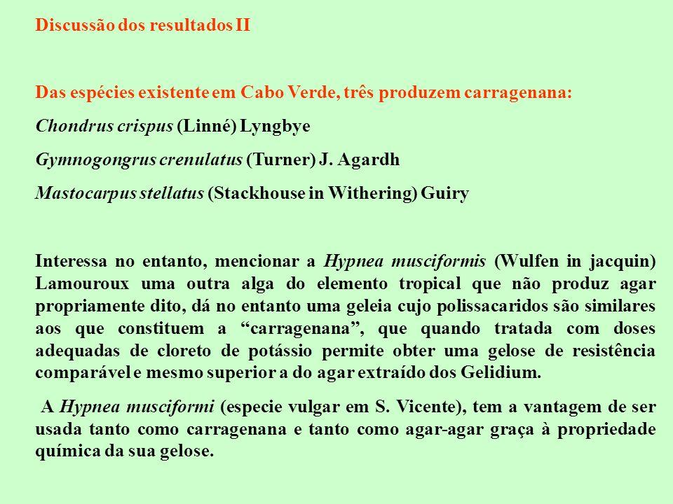 Discussão dos resultados II Das espécies existente em Cabo Verde, três produzem carragenana: Chondrus crispus (Linné) Lyngbye Gymnogongrus crenulatus
