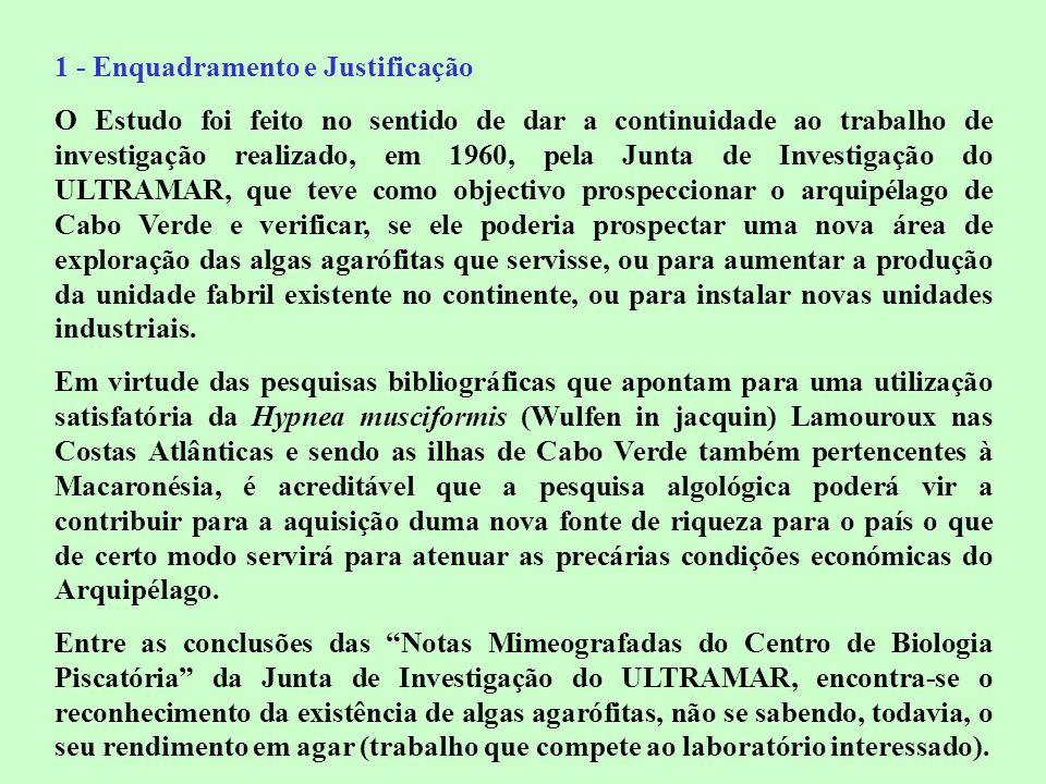 1 - Enquadramento e Justificação O Estudo foi feito no sentido de dar a continuidade ao trabalho de investigação realizado, em 1960, pela Junta de Inv