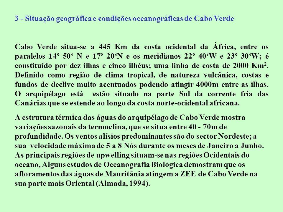 3 - Situação geográfica e condições oceanográficas de Cabo Verde Cabo Verde situa-se a 445 Km da costa ocidental da África, entre os paralelos 14º 50