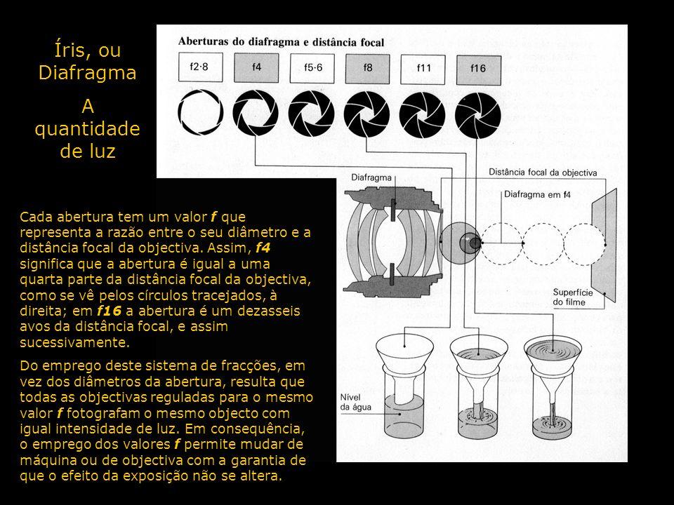 Íris, ou Diafragma A quantidade de luz Cada abertura tem um valor f que representa a razão entre o seu diâmetro e a distância focal da objectiva. Assi