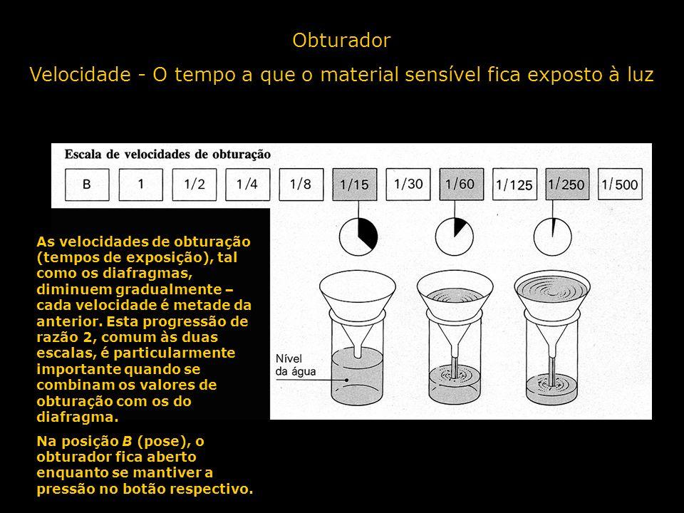 Obturador Velocidade - O tempo a que o material sensível fica exposto à luz As velocidades de obturação (tempos de exposição), tal como os diafragmas,