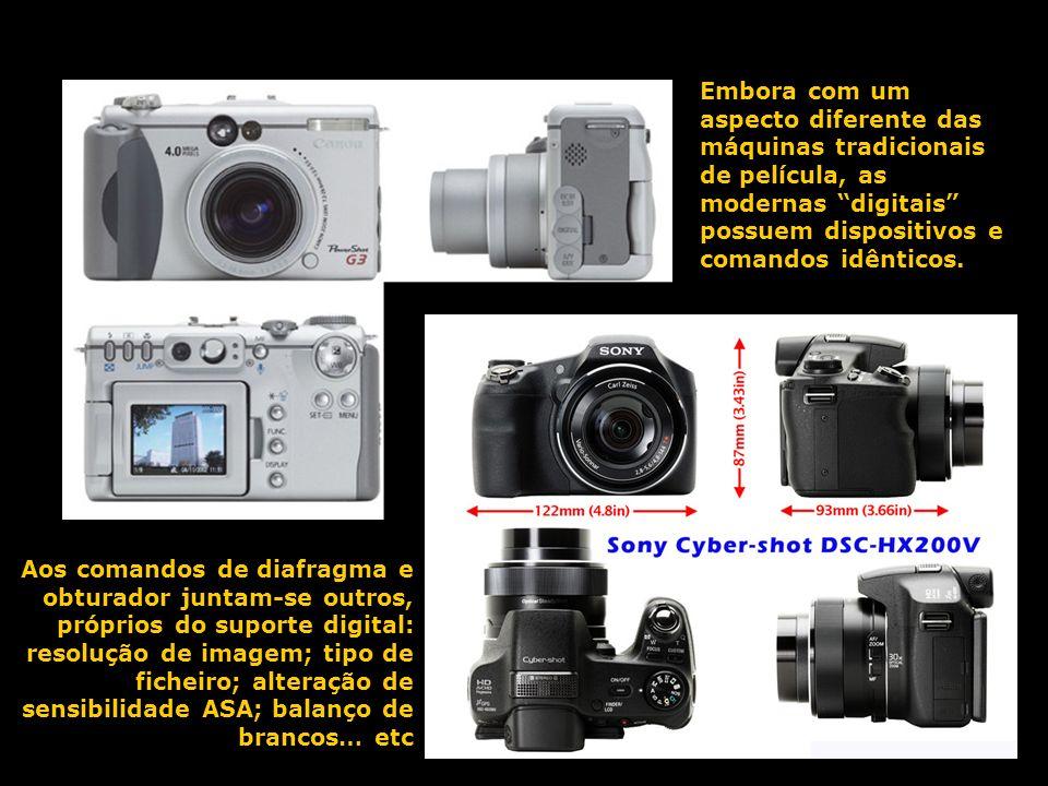 Embora com um aspecto diferente das máquinas tradicionais de película, as modernas digitais possuem dispositivos e comandos idênticos. Aos comandos de