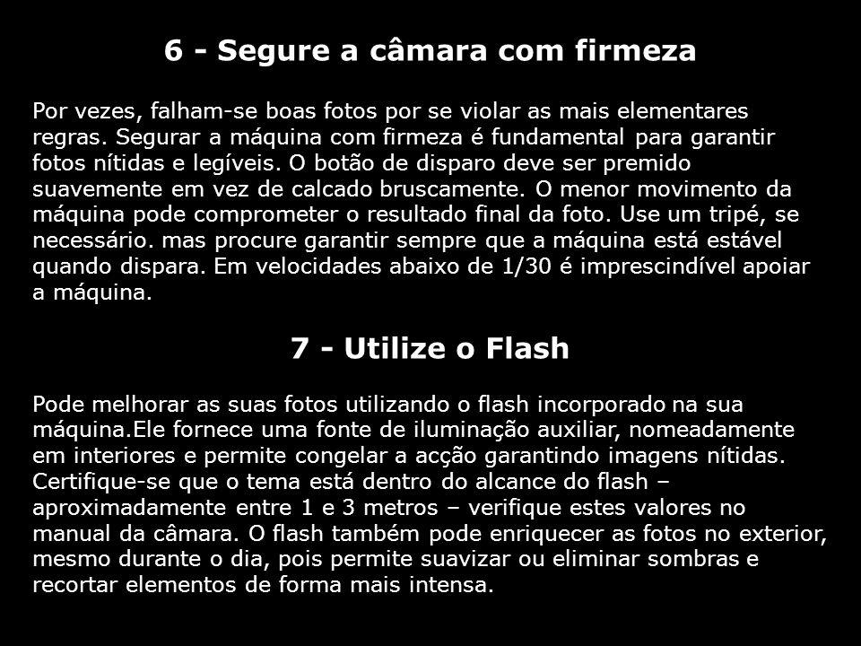 6 - Segure a câmara com firmeza Por vezes, falham-se boas fotos por se violar as mais elementares regras. Segurar a máquina com firmeza é fundamental