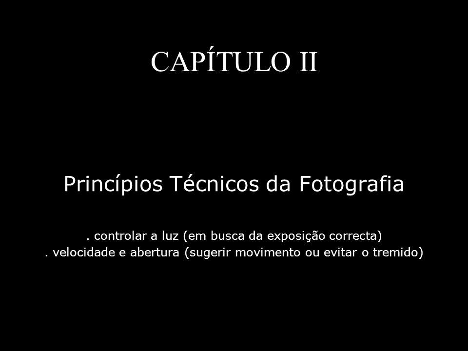 CAPÍTULO II Princípios Técnicos da Fotografia. controlar a luz (em busca da exposição correcta). velocidade e abertura (sugerir movimento ou evitar o