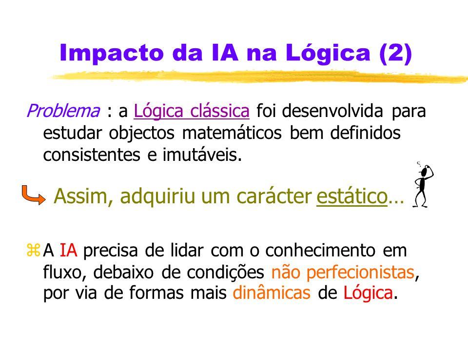 Impacto da IA na Lógica zA IA pretende mecanizar a Lógica zA IA visa explicitar, e bem definir, o uso subconsciente da Lógica ( como a Gramática à Lín