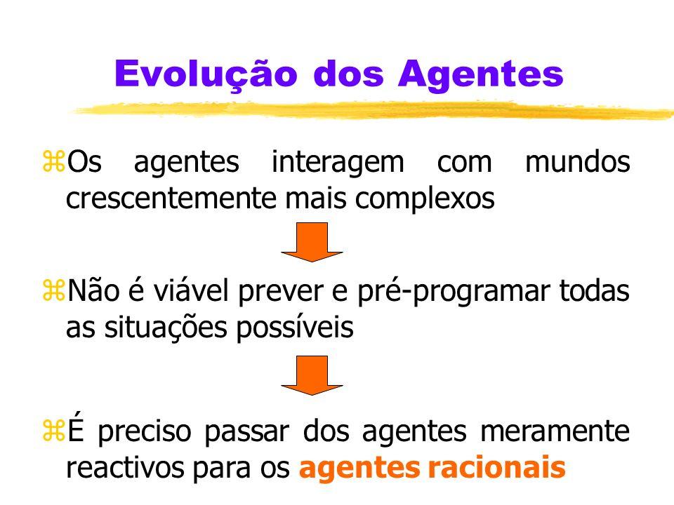 Agentes Mentais (2) zUm agente mental deve ser capaz de: 4administrar o seu conhecimento, crenças, e intenções 4planear, ao receber nova informação e
