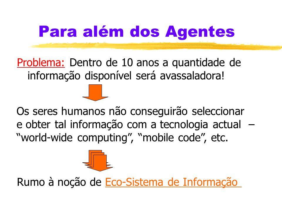 Lógica para Agentes zA Programação em Lógica tem desenvolvido mecanismos apropriados a agentes racionais: É necessário mais trabalho na combinação des