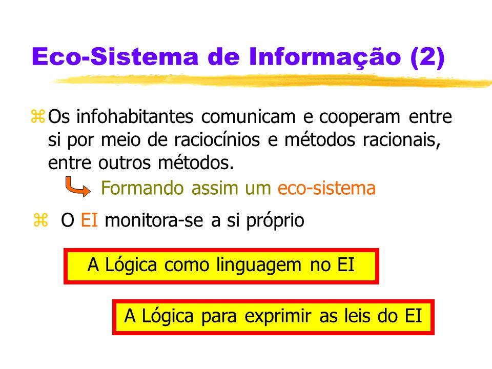 Eco-Sistema de Informação (EI) zUm infohabitante de um EI é uma entidade – humana ou não – com algumas capacidades racionais. zUm EI tem diferentes ti