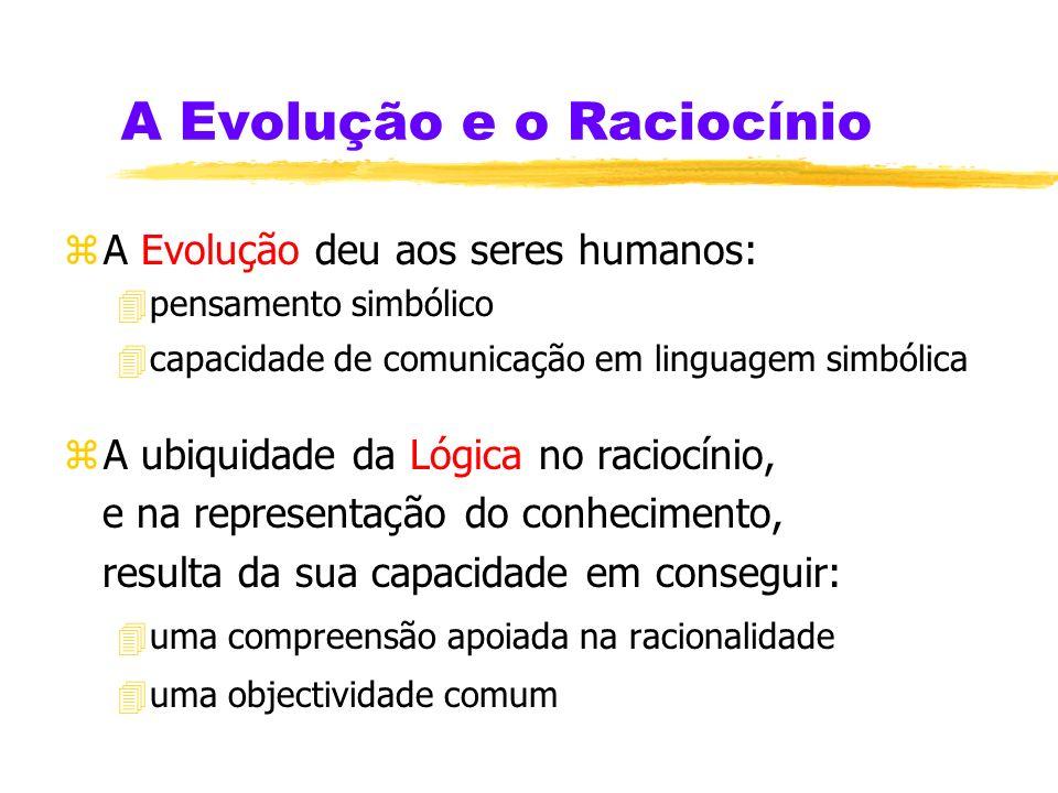 A Evolução e o Raciocínio zA Evolução deu aos seres humanos: 4pensamento simbólico 4capacidade de comunicação em linguagem simbólica zA ubiquidade da Lógica no raciocínio, e na representação do conhecimento, resulta da sua capacidade em conseguir: 4uma compreensão apoiada na racionalidade 4uma objectividade comum