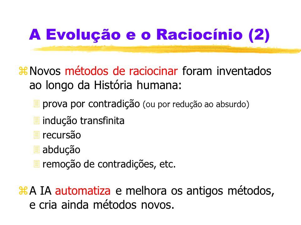 A Evolução e o Raciocínio (2) zNovos métodos de raciocinar foram inventados ao longo da História humana: 3prova por contradição (ou por redução ao absurdo) 3indução transfinita 3recursão 3abdução 3remoção de contradições, etc.