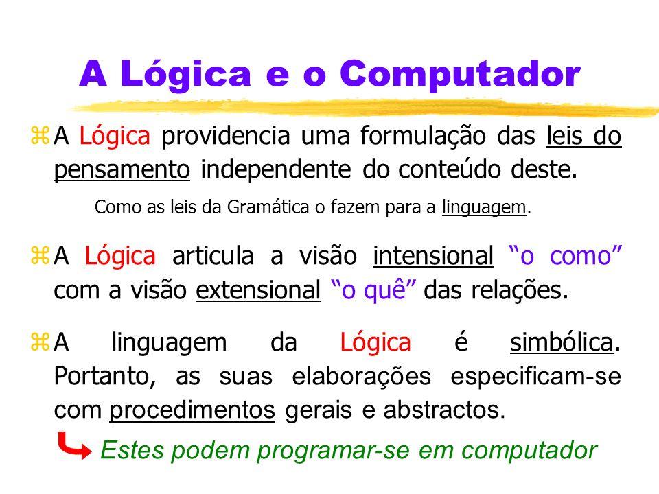 A Lógica e o Computador zA Lógica providencia uma formulação das leis do pensamento independente do conteúdo deste.