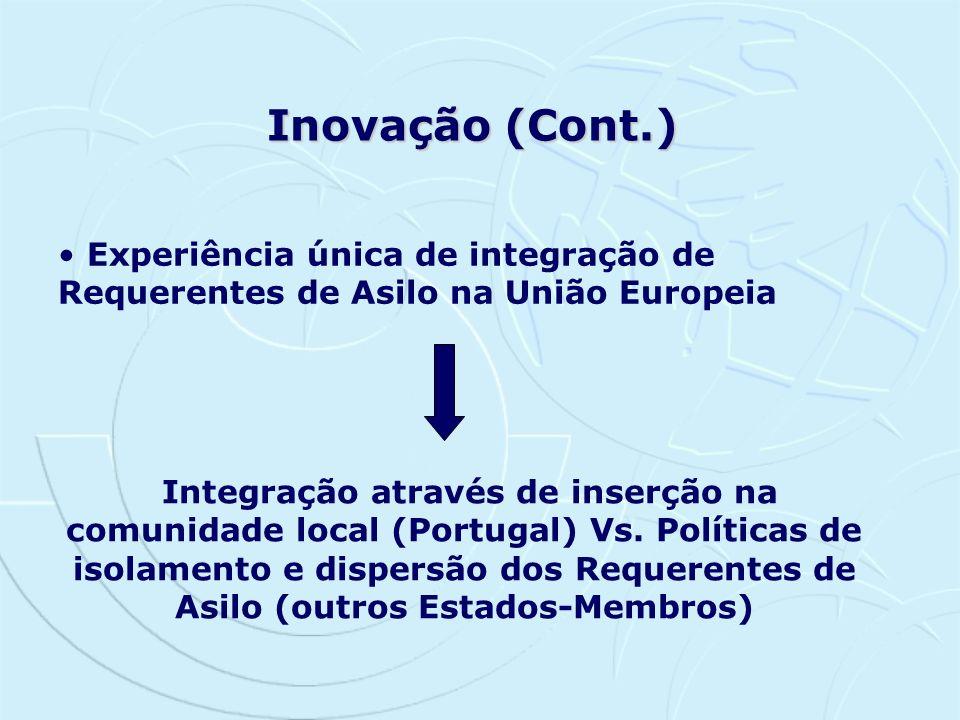 Inovação (Cont.) Experiência única de integração de Requerentes de Asilo na União Europeia Integração através de inserção na comunidade local (Portuga