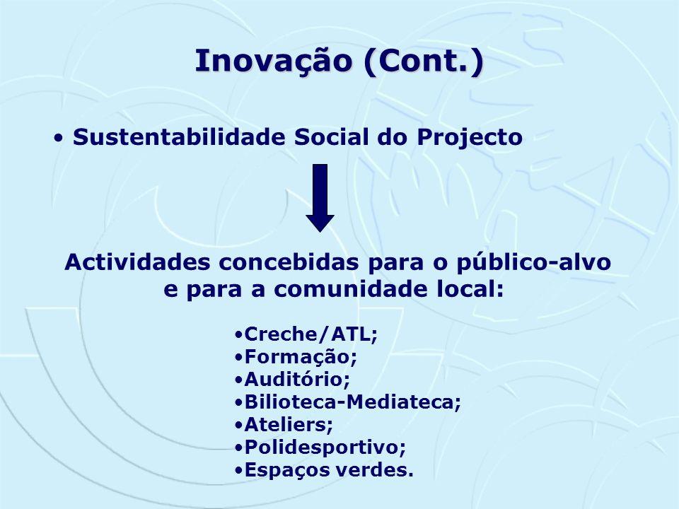 Inovação (Cont.) Sustentabilidade Social do Projecto Actividades concebidas para o público-alvo e para a comunidade local: Creche/ATL; Formação; Audit