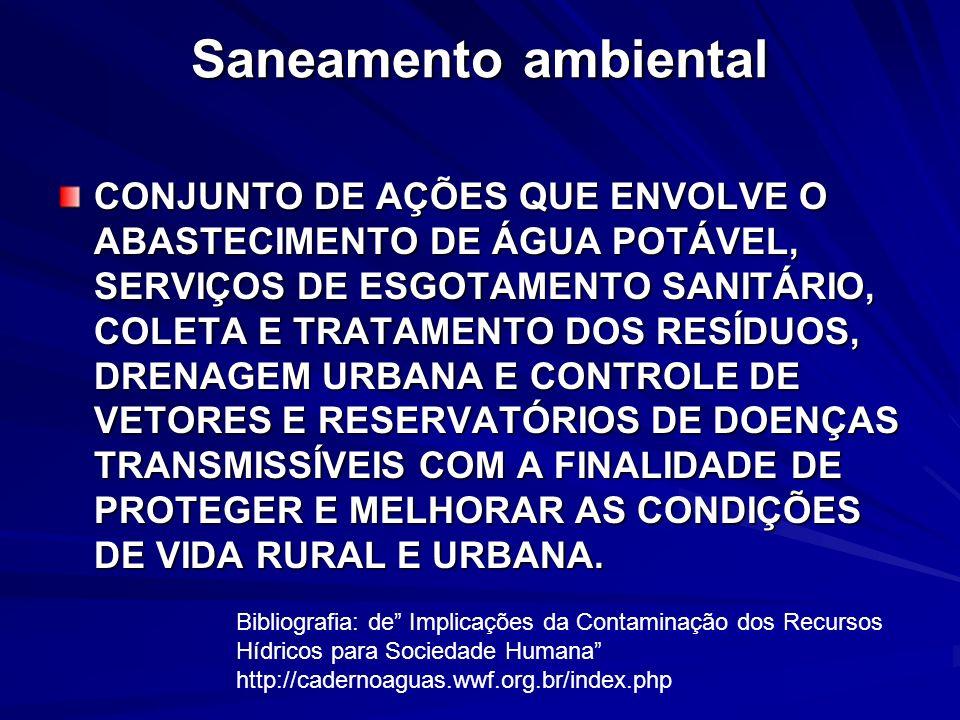 Saneamento ambiental CONJUNTO DE AÇÕES QUE ENVOLVE O ABASTECIMENTO DE ÁGUA POTÁVEL, SERVIÇOS DE ESGOTAMENTO SANITÁRIO, COLETA E TRATAMENTO DOS RESÍDUO
