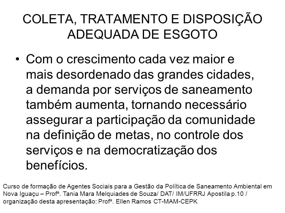 COLETA, TRATAMENTO E DISPOSIÇÃO ADEQUADA DE ESGOTO Com o crescimento cada vez maior e mais desordenado das grandes cidades, a demanda por serviços de