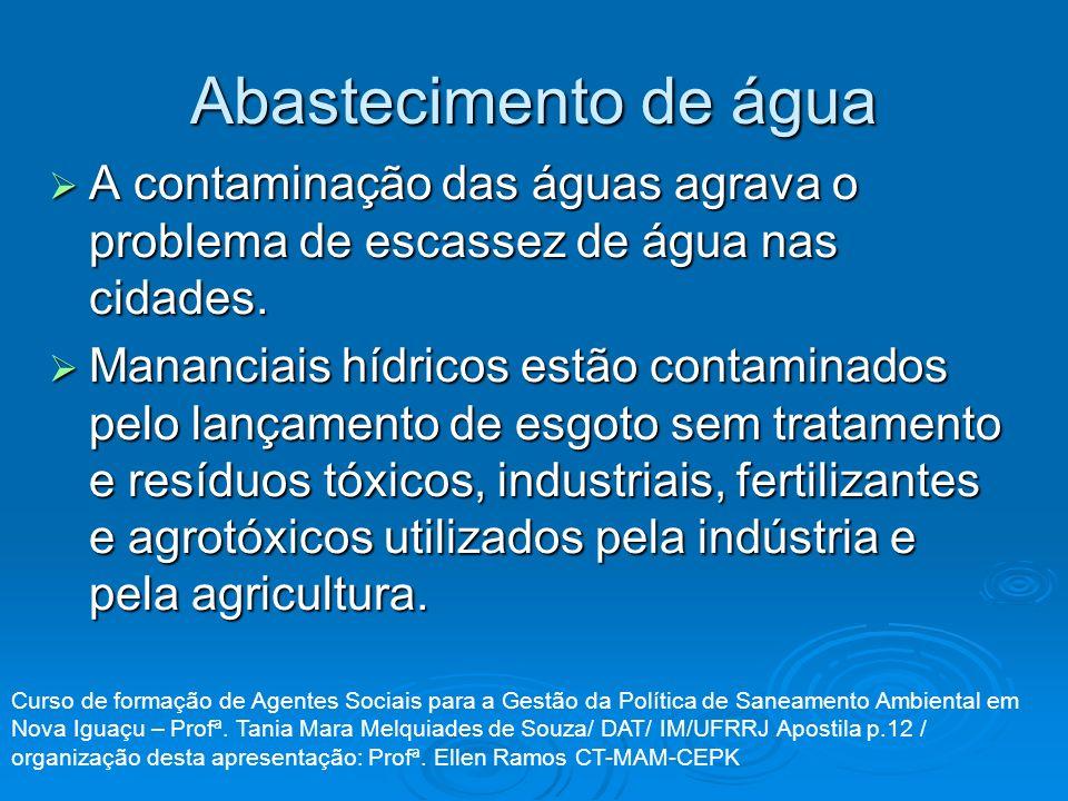 Abastecimento de água A contaminação das águas agrava o problema de escassez de água nas cidades. A contaminação das águas agrava o problema de escass