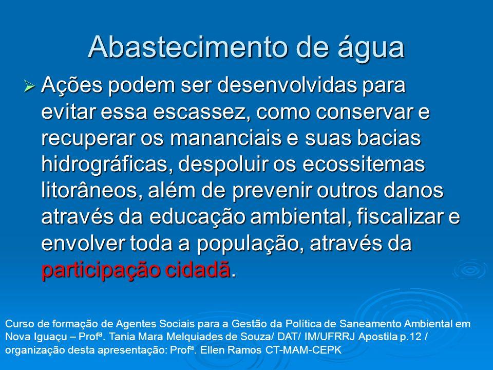 Abastecimento de água Ações podem ser desenvolvidas para evitar essa escassez, como conservar e recuperar os mananciais e suas bacias hidrográficas, d