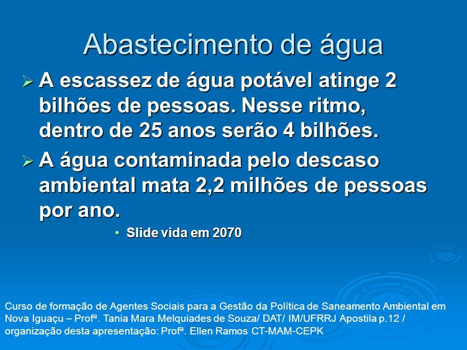 Abastecimento de água A escassez de água potável atinge 2 bilhões de pessoas. Nesse ritmo, dentro de 25 anos serão 4 bilhões. A escassez de água potáv