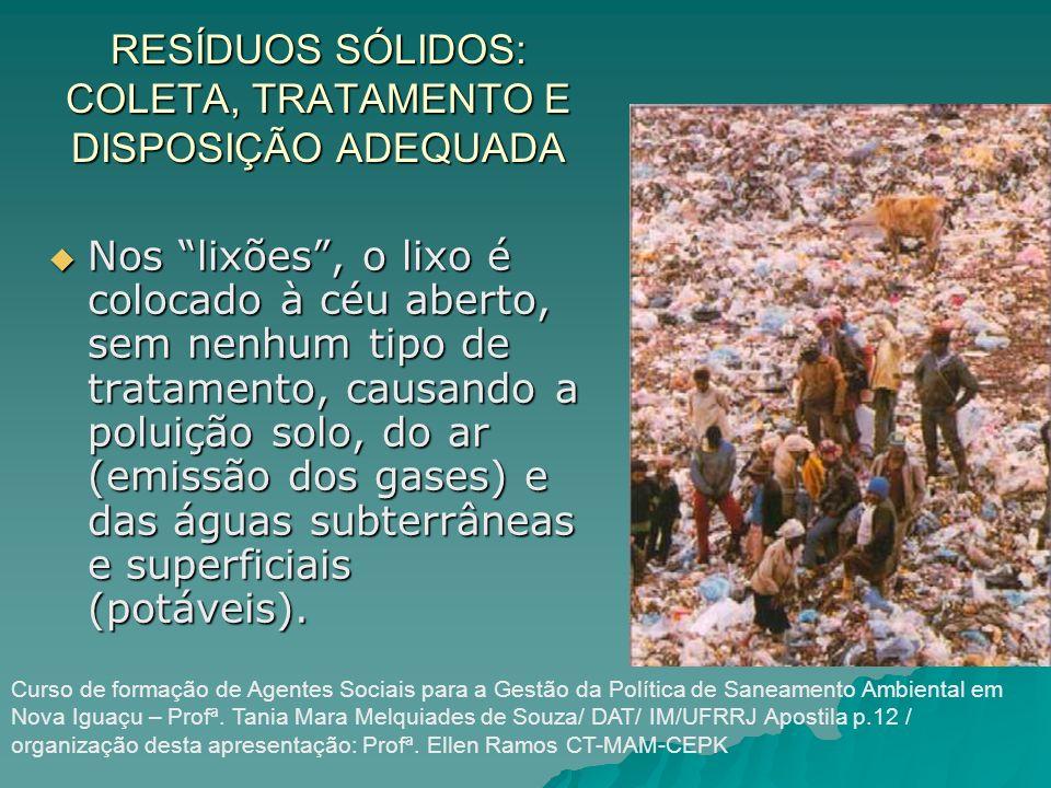 RESÍDUOS SÓLIDOS: COLETA, TRATAMENTO E DISPOSIÇÃO ADEQUADA Nos lixões, o lixo é colocado à céu aberto, sem nenhum tipo de tratamento, causando a polui