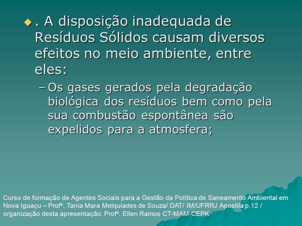 . A disposição inadequada de Resíduos Sólidos causam diversos efeitos no meio ambiente, entre eles:. A disposição inadequada de Resíduos Sólidos causa